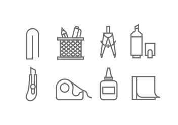 Office Supply Icon Vectors - Free vector #427327