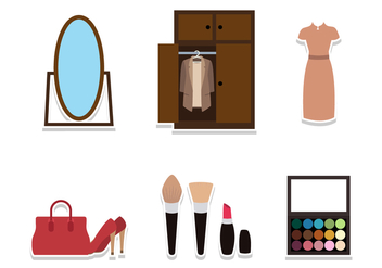 Flat Dressing Room Stuff - vector gratuit #427427