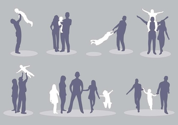 Familia Silhouette Vector Icon Pack - Free vector #427477
