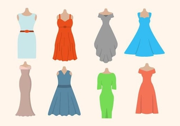 Flat Woman's Dress Vectors - vector gratuit #427507