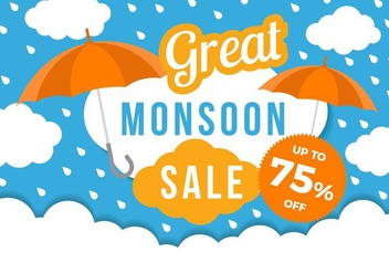 Free Monsoon Great Sale Poster Template Vector - Free vector #427607