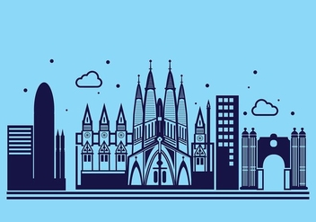 Sagrada Familia Linear Vector Background - Free vector #427677