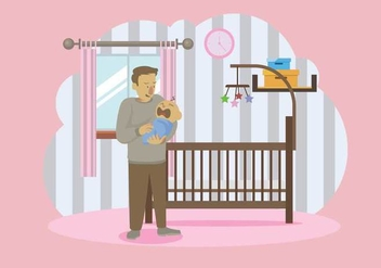 Patient Father Carrying His Baby Illustration - vector gratuit #427737