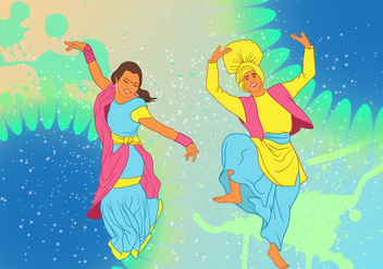 Bhangra Dance At New Year Festival Background - vector gratuit #427827