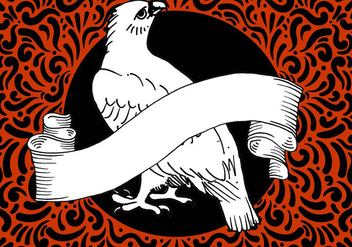 Ornate Hawk & Banner Design - Free vector #428037