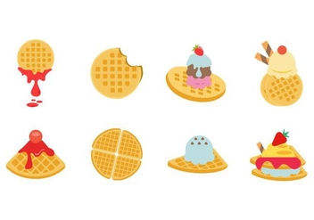 Free Flat Various Waffles Collection Vector - Kostenloses vector #428097