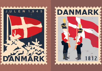 Denmark Travel Stamps - Free vector #428107