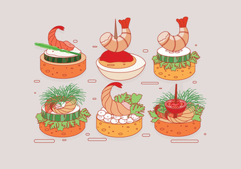 Shrimp Canapes Vector - Free vector #428117