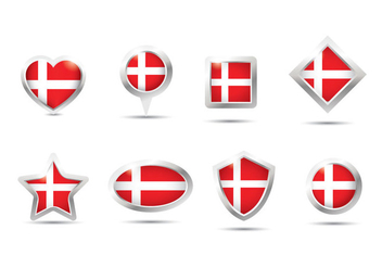 Danish Flag Button Vector - бесплатный vector #428137