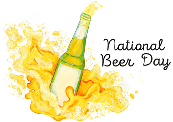 Watercolor Splash Beer Bottle To National Beer Day - бесплатный vector #428217