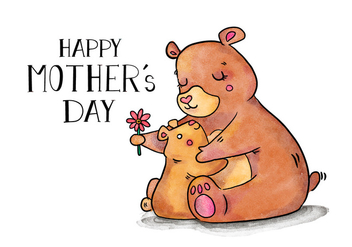 Cute Bear Mom And Son Hug With Lettering And Flower - Free vector #428277