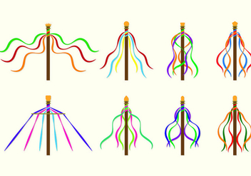 Set Of Maypole Icons - vector gratuit #428297
