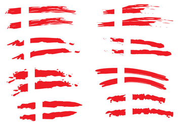 Painted Danish Flag Vectors - vector gratuit #428357