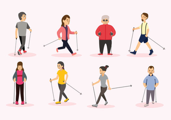 Nordic Walking Vector People - vector gratuit #428417