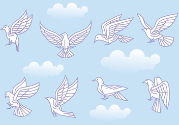 Stylized Vector Paloma or Dove Variations - Free vector #428427