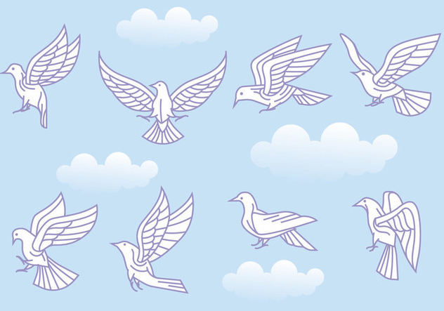 Stylized Vector Paloma or Dove Variations - Kostenloses vector #428427