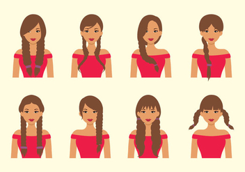 Plait Hair Vector - vector #428447 gratis