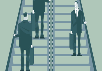 Businessmen on Escalator Vector - vector #428457 gratis