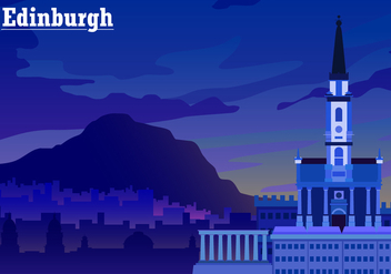 Sunset Over Edinburgh Free Vector - Free vector #428477