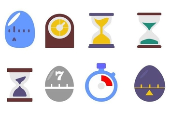 Free Time and Clock Icons Vector - бесплатный vector #428497