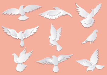 Dove or Paloma Peace Symbols Vectors - Free vector #428587