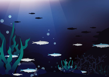 Deep Sea Sardines Vector Background - Free vector #428607