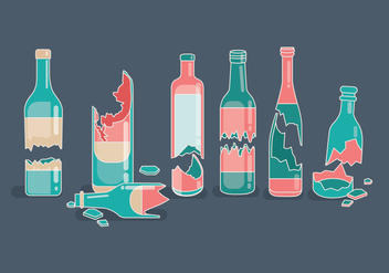 Pink and Teal Broken Bottle Vectors - Free vector #428647