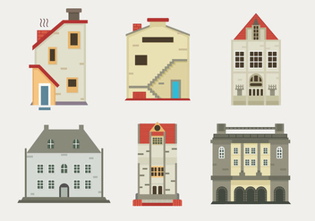 Edinburg Old Building Flat Vector Illustration - Kostenloses vector #428837