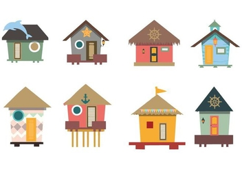 Free Traditional House Beach Hut Vector - Free vector #428847
