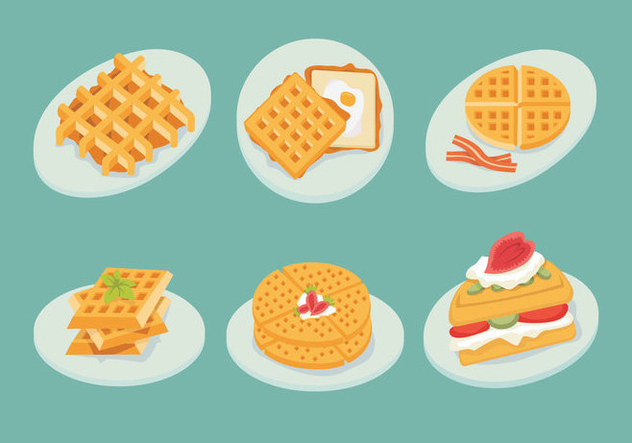 Waffles Plate Slice Isolate Shape Vector Stock - vector gratuit #428857