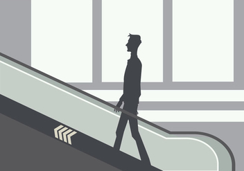Silhouette of A Young Man on The Escalator Vector - Free vector #428907