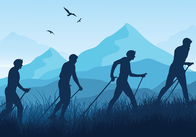 Nordic Walking Blue Silhouette Vector - Free vector #428927
