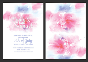 Vector Delicate Watercolor Wedding Invitation - бесплатный vector #428997