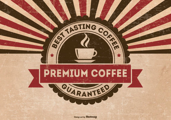Retro Grunge Premium Coffee Background - vector gratuit #429037