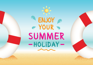 Enjoy Your Summer Holiday Beach Vector - Free vector #429047