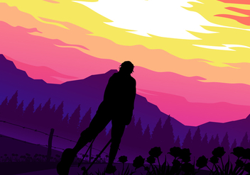 Sunset Nordic Walking Free Vector - Kostenloses vector #429107