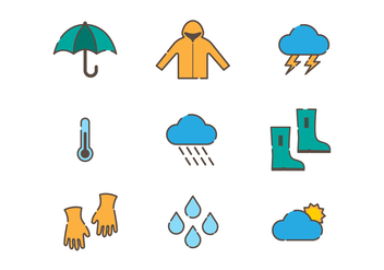 Weather and Monsoon Vector Icons - бесплатный vector #429127