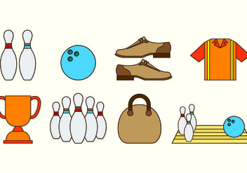 Set Of Bowling Icons - Free vector #429157