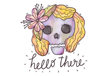 Cute Purple Sugar Skull Wearing Flower And Happy Quote - бесплатный vector #429167