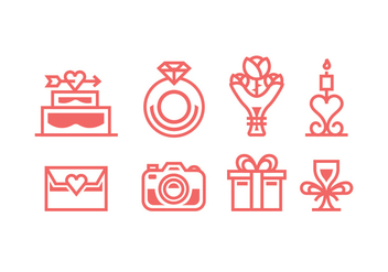 Coral Colored Wedding Vector Icons - Free vector #429207
