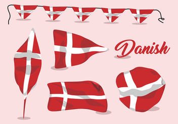 Wavy Danish Flag Vector Set - Free vector #429267