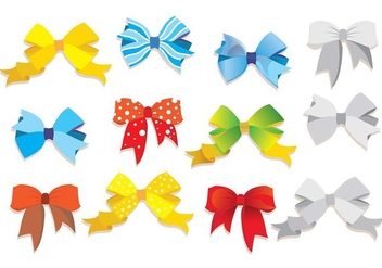 Hair Ribbon Vector Set - Free vector #429277
