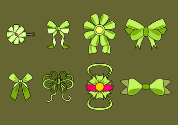 Green Hair Ribbon Free Vector - vector gratuit #429297