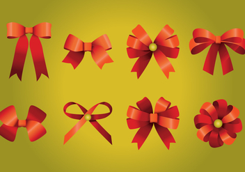 Red Ribbon Bows - vector gratuit #429307