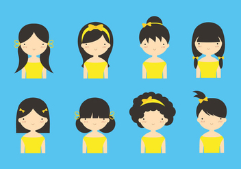 Cute Girls with Yellow Hair Ribbon Vectors - Free vector #429317