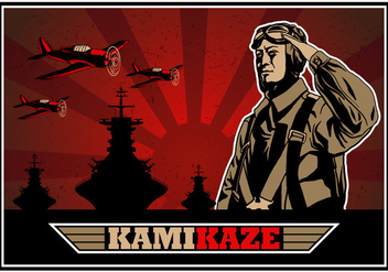 Kamikaze World War II Bomber Vector - Free vector #429547