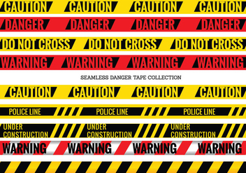 Vector Set of Seamless Danger and Caution Tapes - Free vector #429567