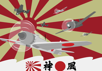 Kamikaze Planes at World War II - vector gratuit #429597
