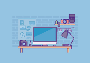 Free Photographer Workspace Illustration - бесплатный vector #429627