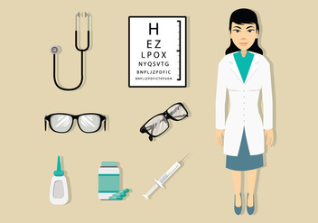 Eye Doctor and Medical Icons - vector gratuit #429637